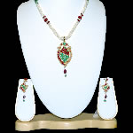 Ruby Emerald Pearl Pendent set