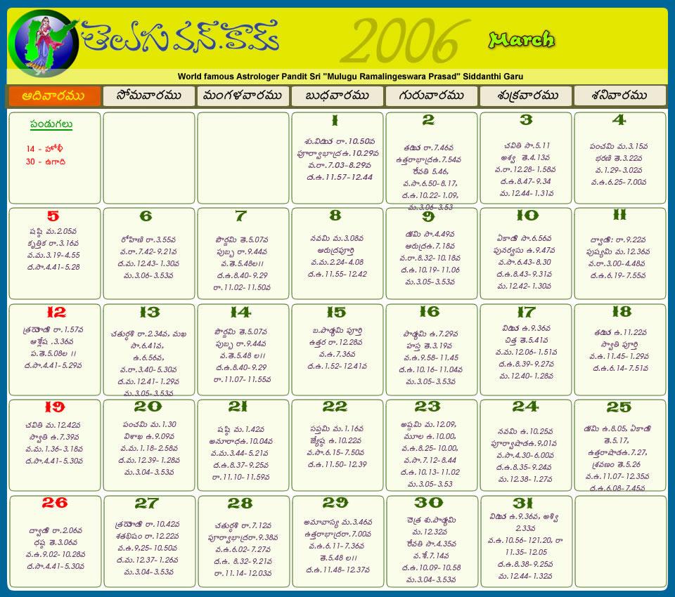 Telugu Calendar 2012 | Telugu Calendar 2011 | Telugu