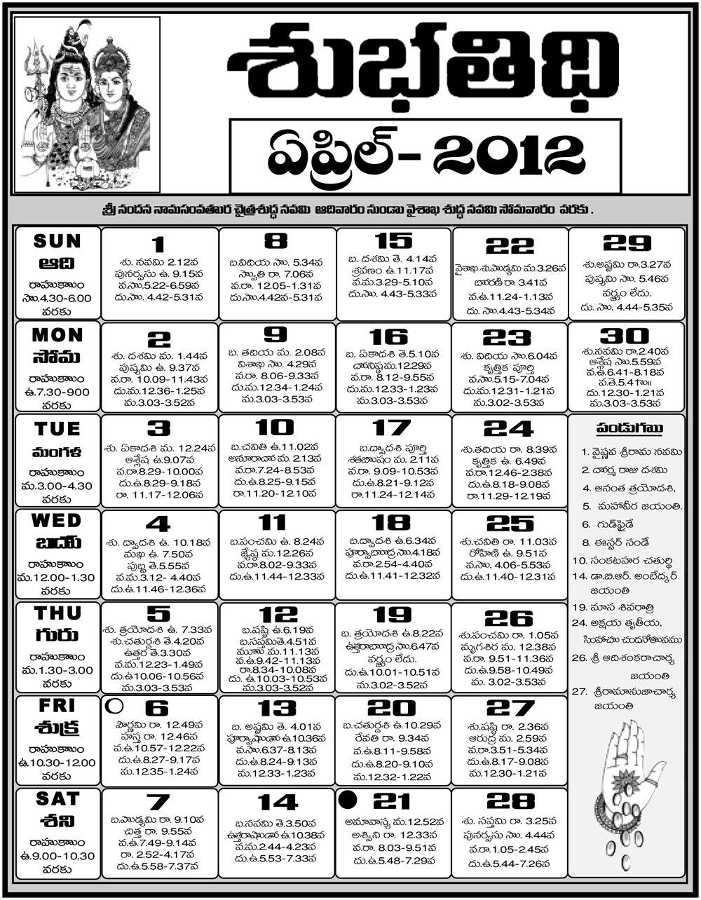 Calendar 2018 April In Telugu