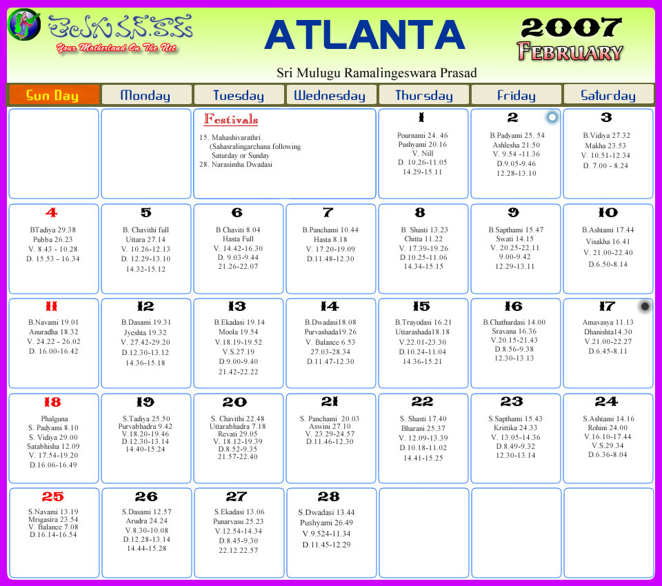 Atlanta Telugu Calendar 2012 Atlanta Telugu Calendar 2011