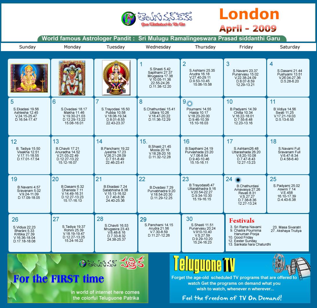 April Calendar London : London telugu calendar