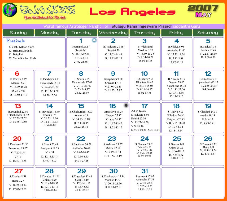 May Calendar Los Angeles : Los angeles telugu calendar