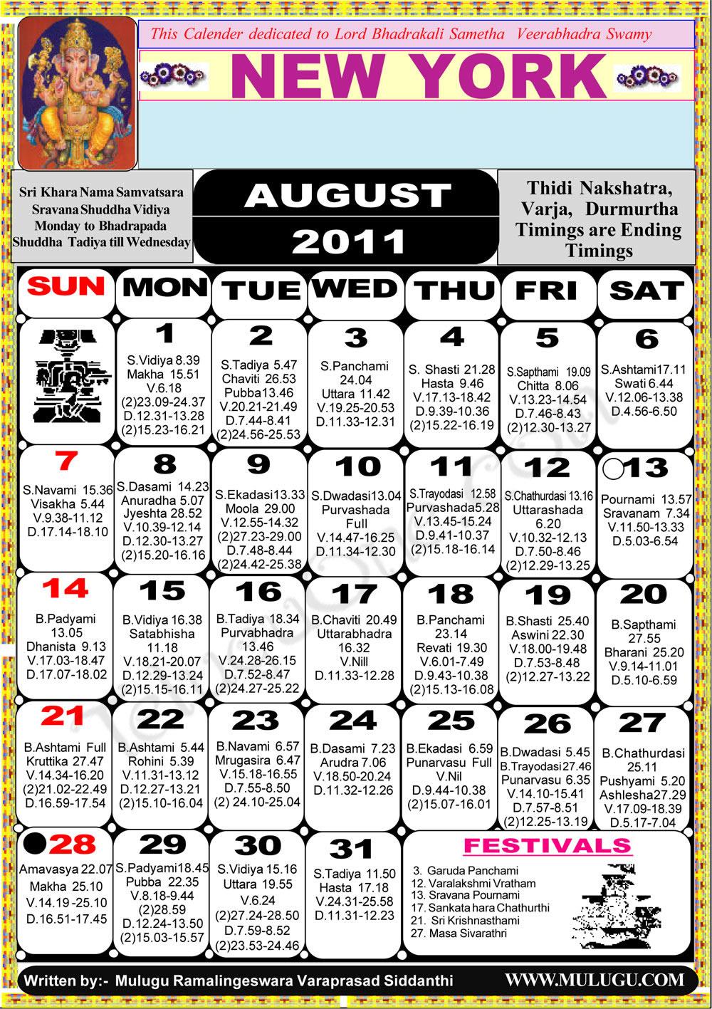 Calendar New York April : Newyork telugu calendar