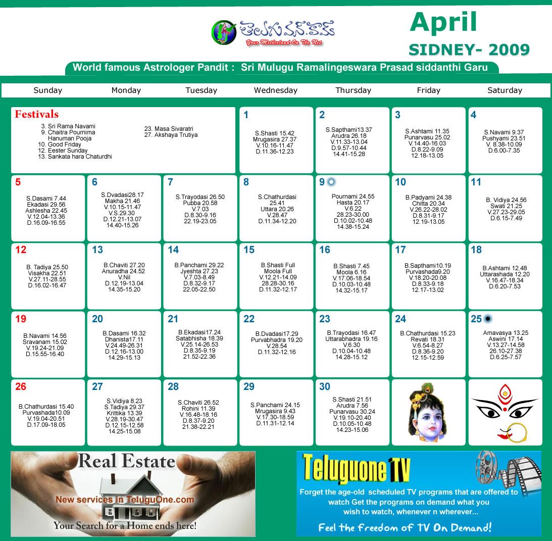 April Calendar Nsw : Sydney telugu calendar