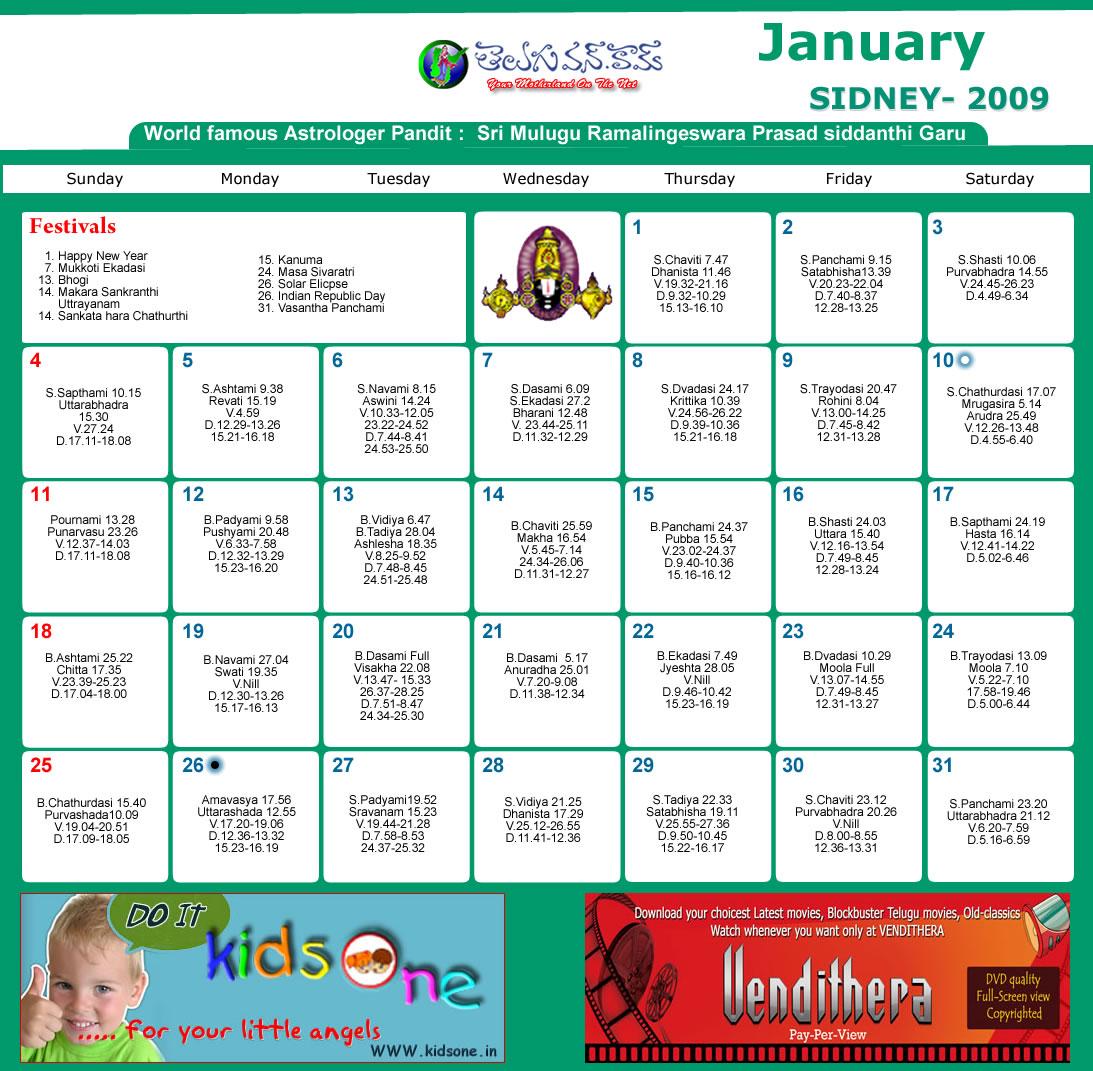 Sydney Telugu Calendar 2009 Month Wise