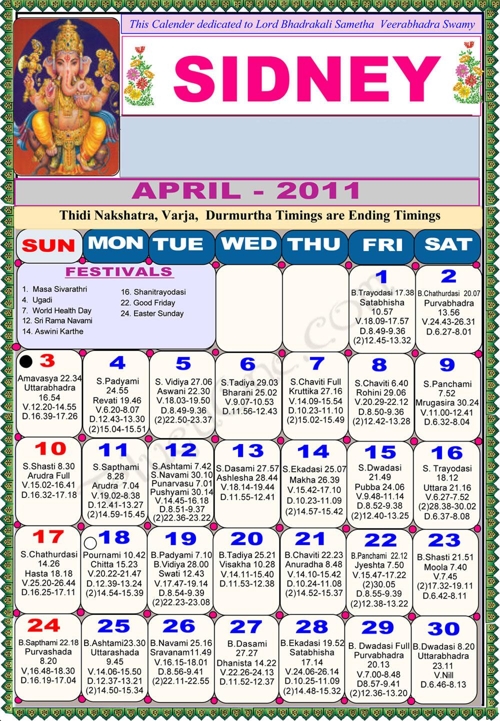 Calendar New York April : Sydney telugu calendar