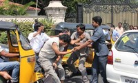 Ram Charan Assaults Car Driver Fighting Photos