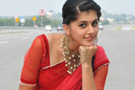 Tapsee in Red Saree Stills