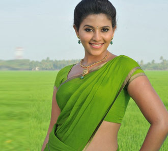 Anjali Stills in Green Saree