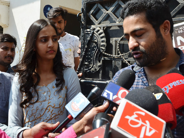 JR NTR Family at GHMC Elections