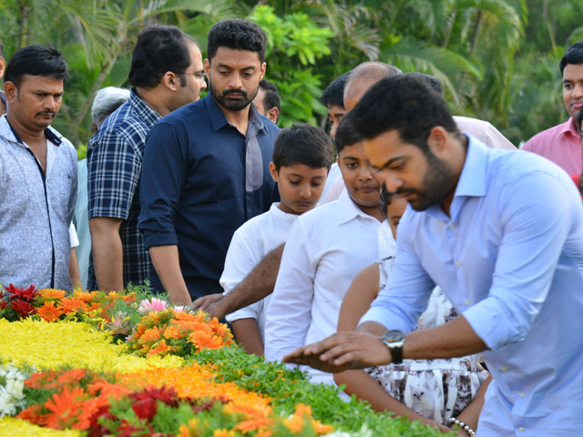 NTR Family Members Pay Tribute At NTR Ghat