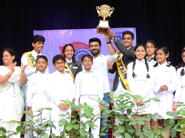 Ram Charan Celebrates Independence Day In Chirec School