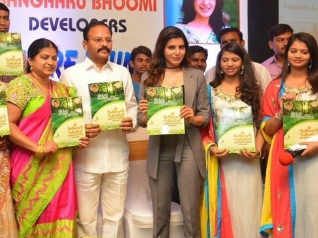Samantha Launches Bangaaru Boomi Developers Brochure