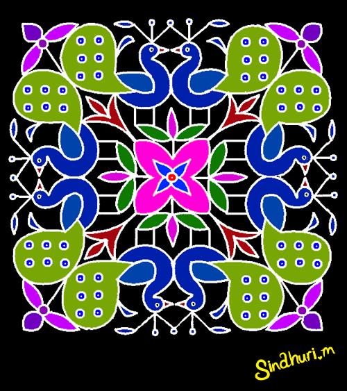 ... Muggulu With Dots | Latest Rangoli Designs | Peacock Rangavallikalu