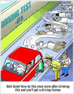 Funny Things RTO Driving Test Cartoons and Comics By Teluguone