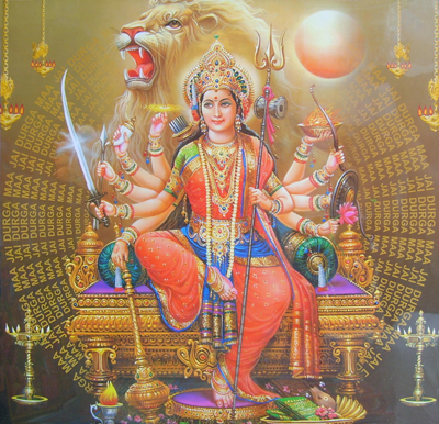 The Hindu Goddess Durga is an incarnation of Devi or the Mother Goddess symbol of divine shakti. Durga Devi is believed to be the supreme reality in the Hinduism