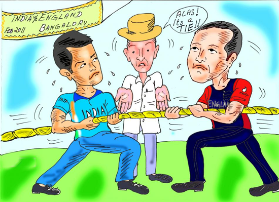 India Vs England 2011 World Cup Match Banglore Funny Cartoons and comics by Teluguone