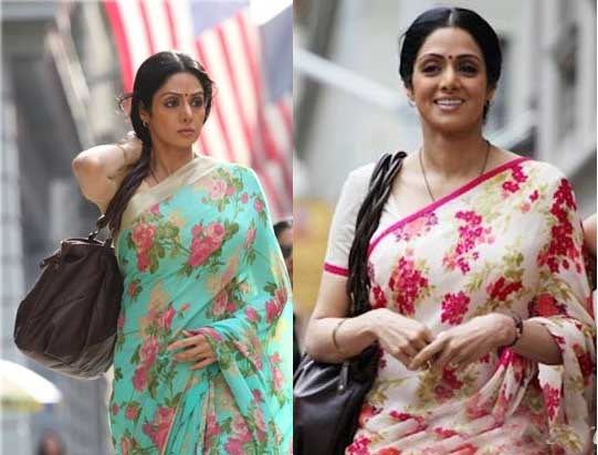 df6b821976 Sabyasaachi had also given Sridevi the floral print chiffon saree in the movie  English Vinglish as part of her Saree collection in the movie.