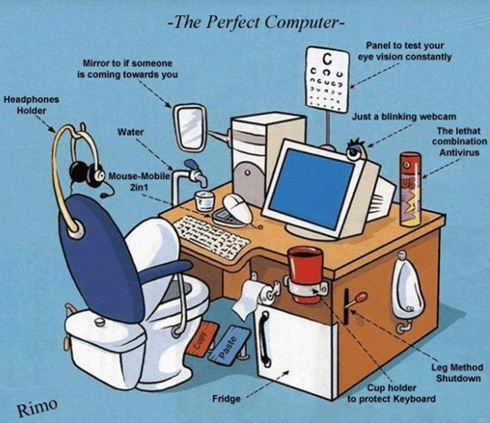 Offering many funny pictures and cartoons about computers, hardware, software, technical support, computer viruses, Microsoft, and programmers.