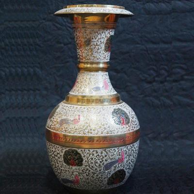 Brass Vase Into A Jute Side Table Brass Vases India Brass Vase