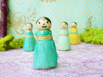 Make Dolls With Tissue Paper Ice Cream Sticks