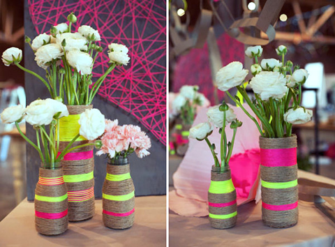 Jute rope vases jute rope vase hand made jute rope for Deco table rose et noir