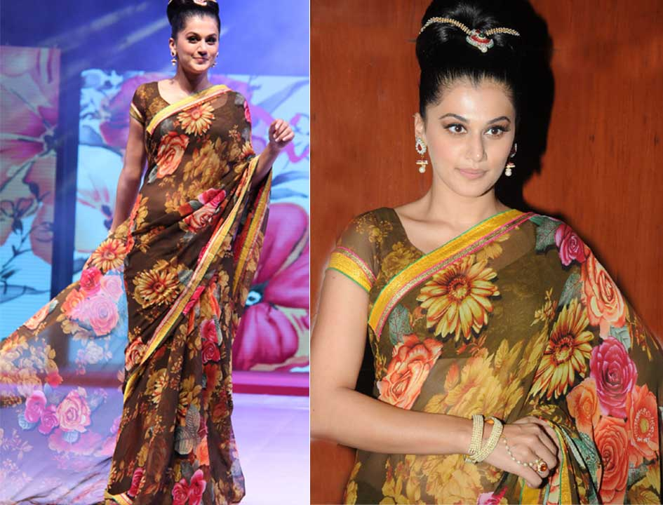 5cd1d946d1 You can check out Taapsee in a floral chiffon saree which she wore for the  ramp walk at an event for the Surat Dreams Fashion Show.