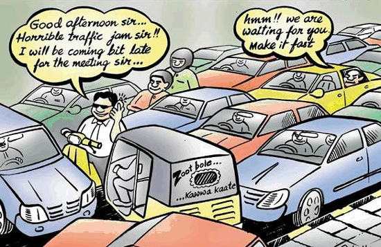 Funny traffic jam cartoons, comics, and cartoon illustrations are great to use for your late to the office