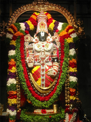 Eight special garlands for Lord Venkateswara every day Garlands of 100 feet long adorn deity 27 varities of flowers, 7 types of aromic leafs 50-100 kgs of fresh flowers every day