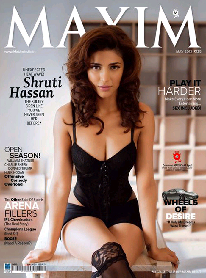 shruti hassan hot, shruti hassan maxim, shruti hassan maxim cover page, shruti hassan maxim magazine, shruti hassan cleavage