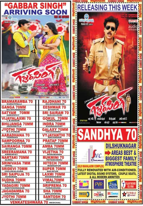 Sardaar Gabbar Singh Movie Hyderabad Theaters List!!