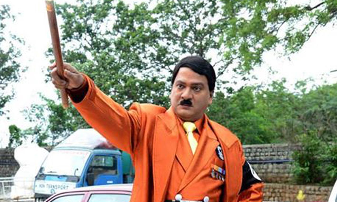 Rajendra Prasad as Hitler, rajendra prasad in hitler role, rajendra prasad hitler role in Top ranker movie, hitler role by rajendra prasad.