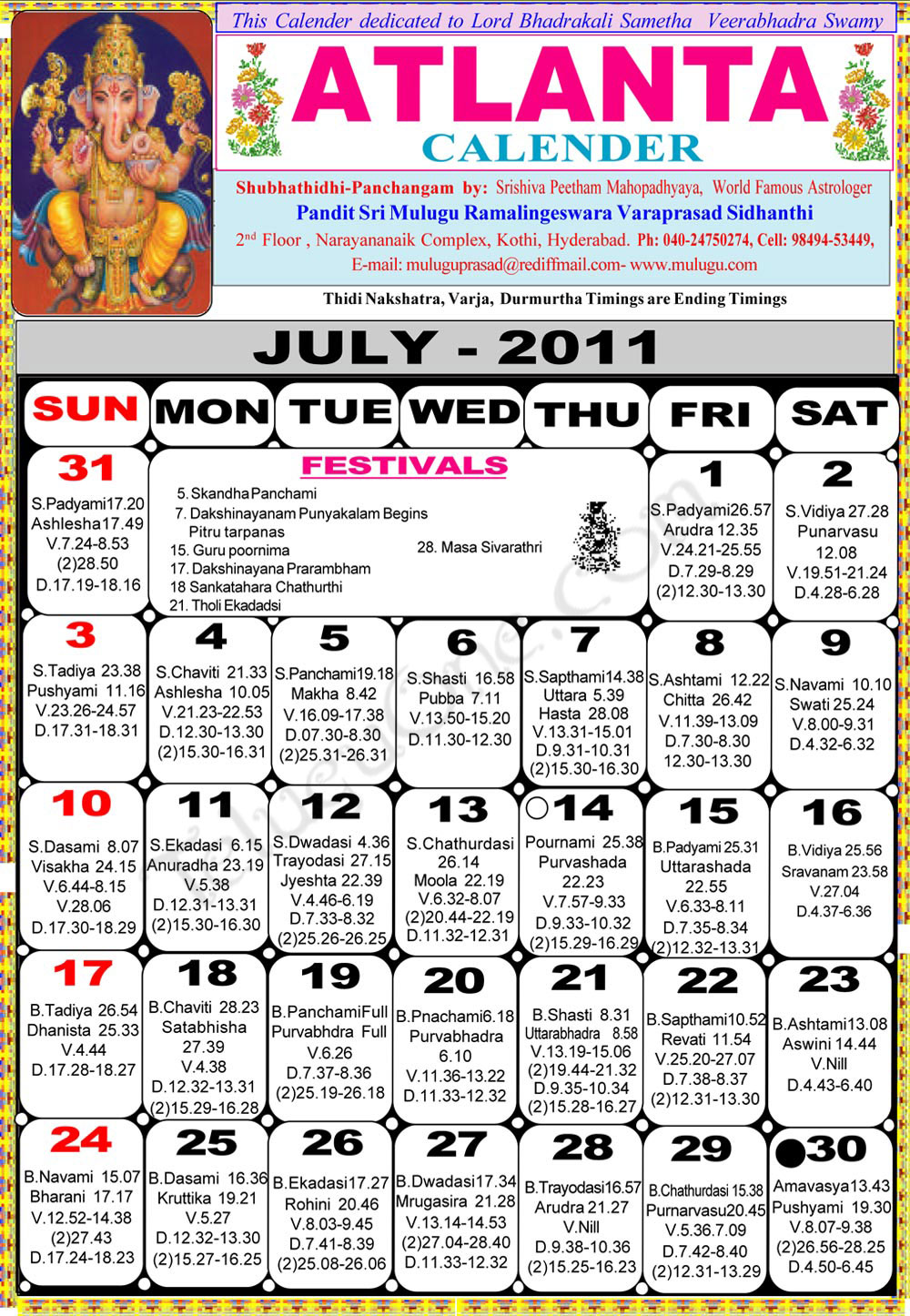 atlanta telugu 2011 calendar- astrology online