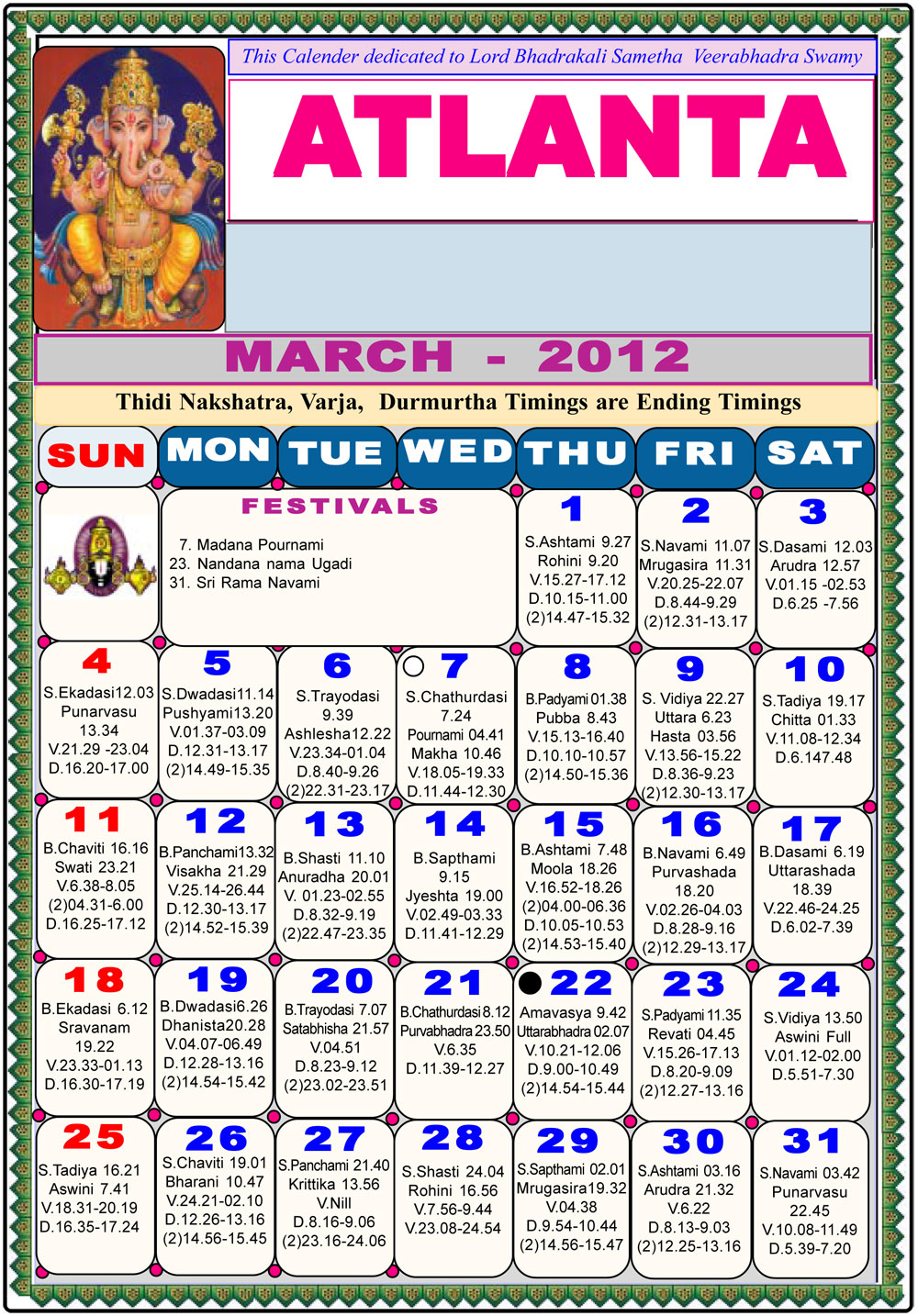 Calendar New York April : Atlanta telugu calendar astrology online horoscope