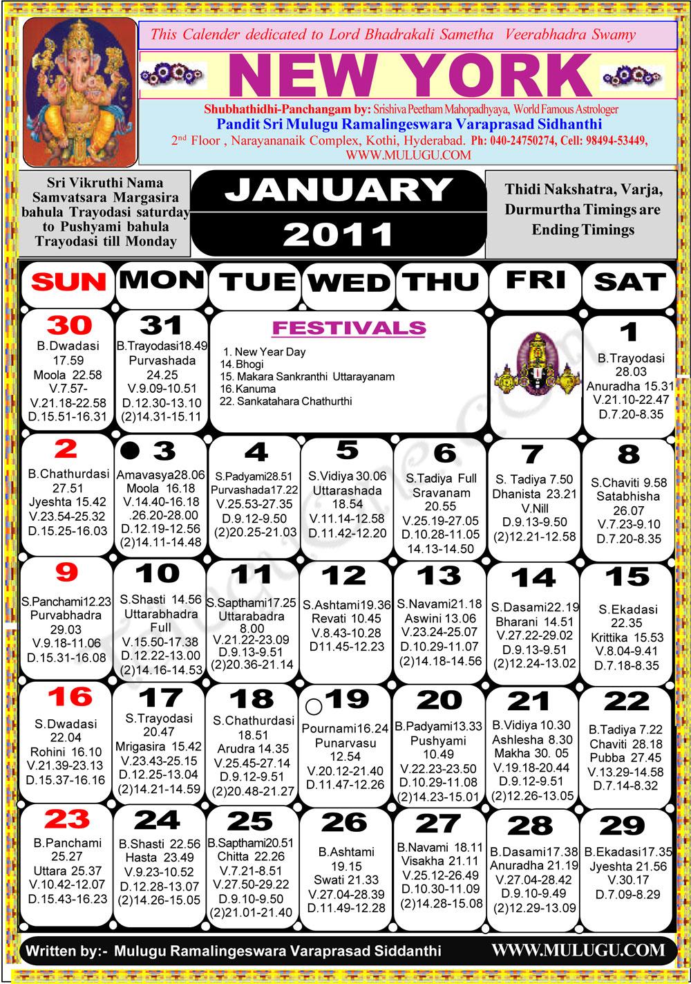 New York Telugu Calendar 2011  Astrology Online   horoscope