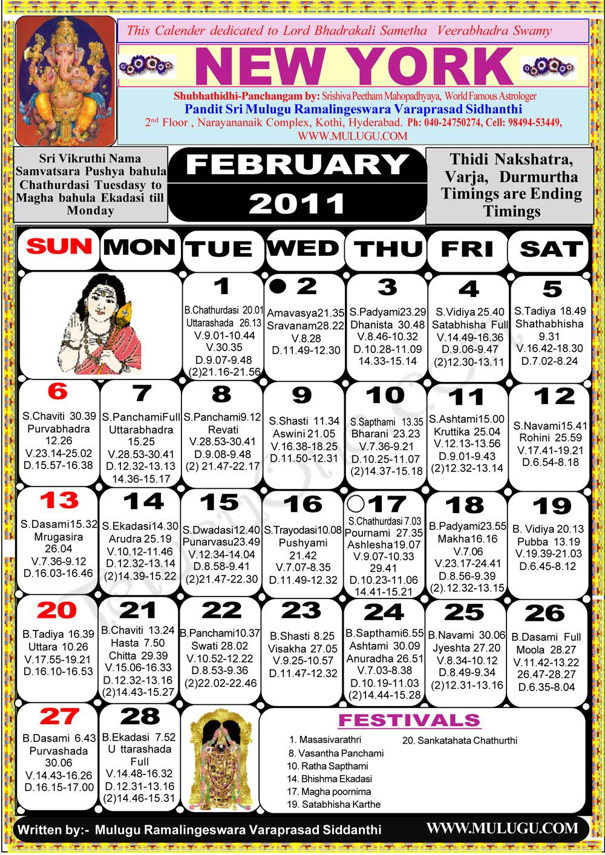 New York Telugu Calendar 2011- Astrology Online - horoscope