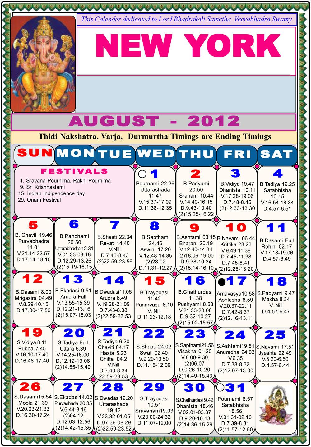 New York Telugu Calendar 2012 Astrology Online Horoscope