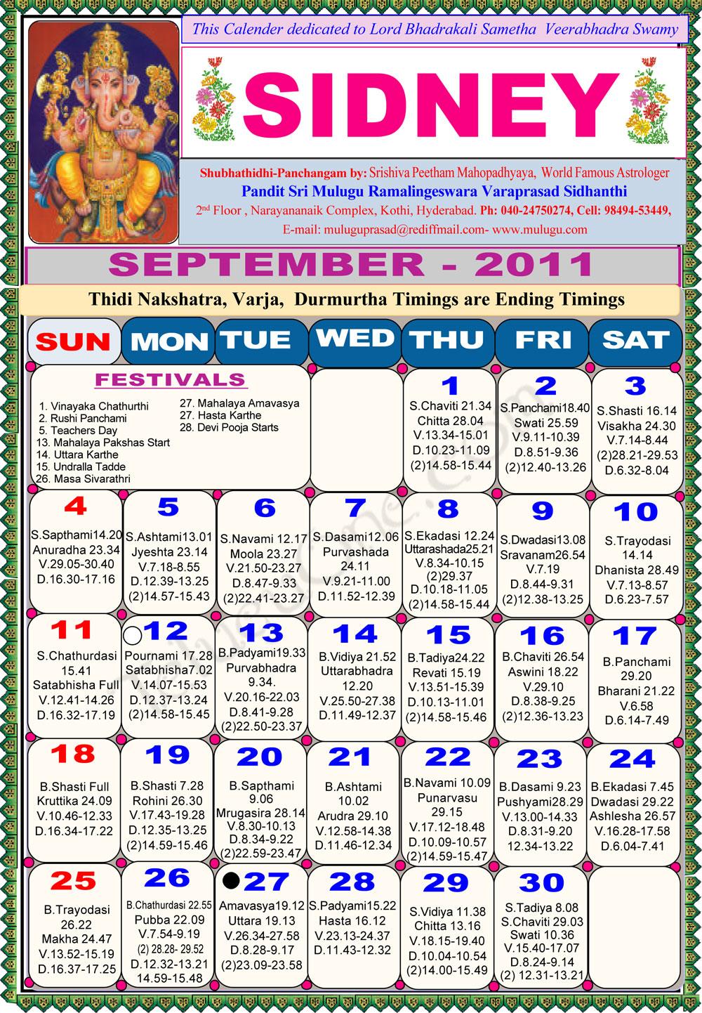 sydney telugu calendar 2011 - astrology online