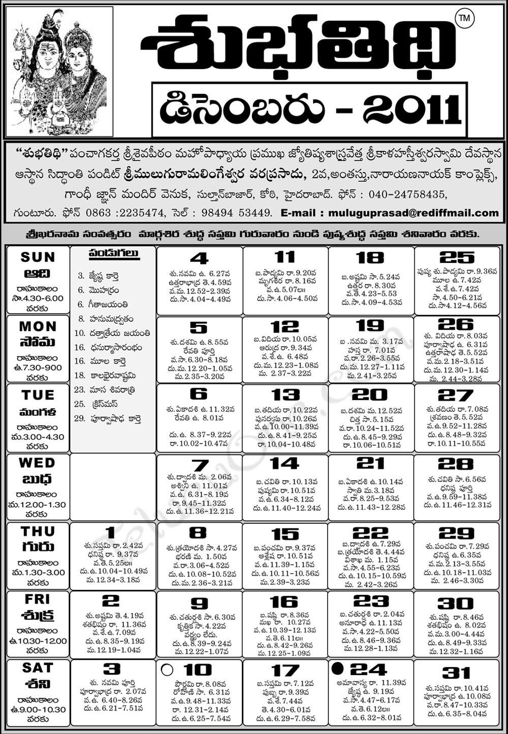 telugu calendar 2011 - astrology online