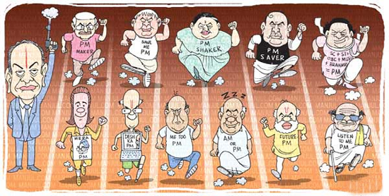 Latest Indian Cartoons on Campaigns and Elections Political leaders Editorial Cartoons by teluguone   comedy