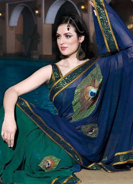 Stylish Indian Peacock Bridal Saree Stylish Indian