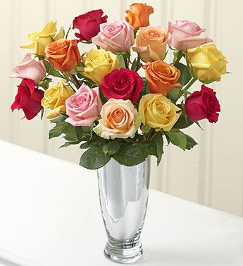 TeluguOne.com & Flowers-Fruits | Flowers-For-Hyderabad | Mix-Roses-Vase | 24 ...