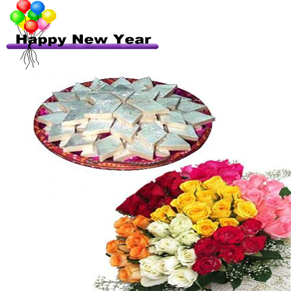 new year wishes 1kg kajukatli with 30 multy colour roses bunch