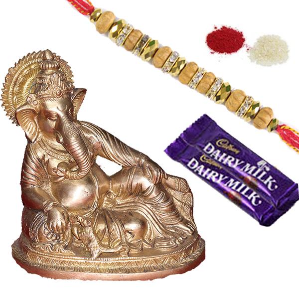 Rakhi Special Gifts Rakhi Combos Brass Ganesh With