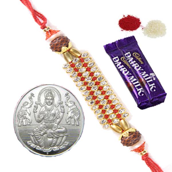 Rakhi Special Gifts Rakhi Combos Silver Coin N Kundan