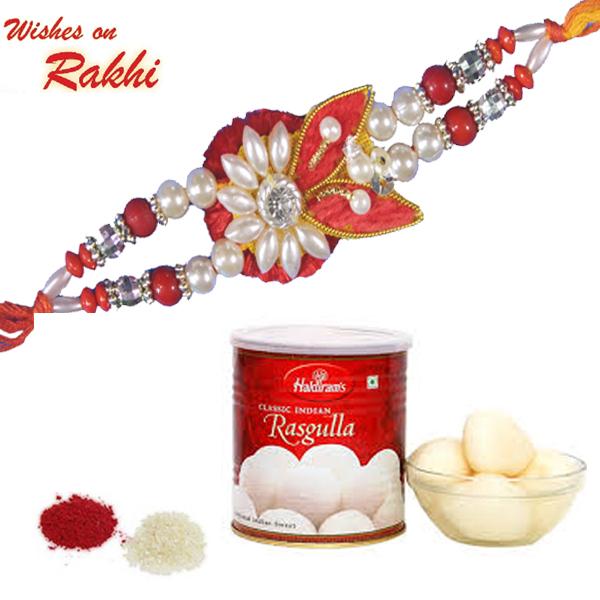 Rakhi Combo 10 Designer Rakhi Haldiram Rasgulla