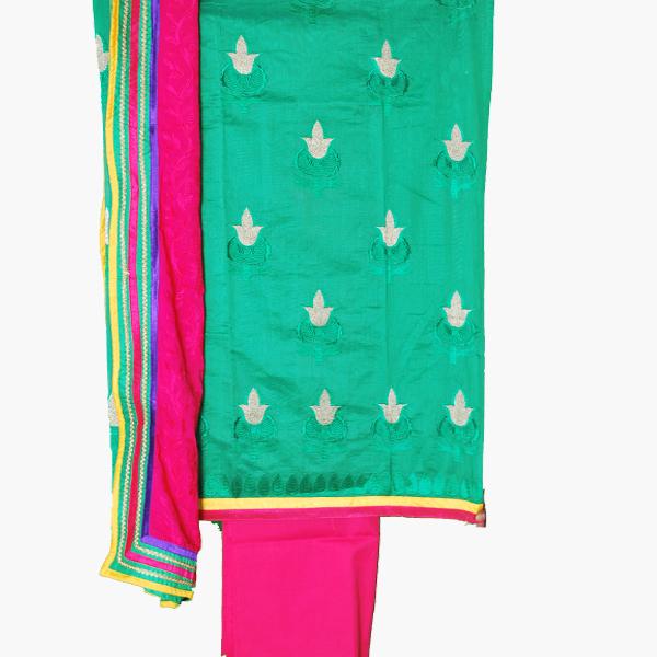 Salwaar By Look Designer Salwar Kameez Green And Pink Combination Dress Material Ask 9 Product Details Daman Border Chiffon Tta