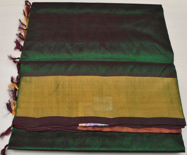 Mangalagiri Plain Silk Sarees Mrr 00076 Bottle Green