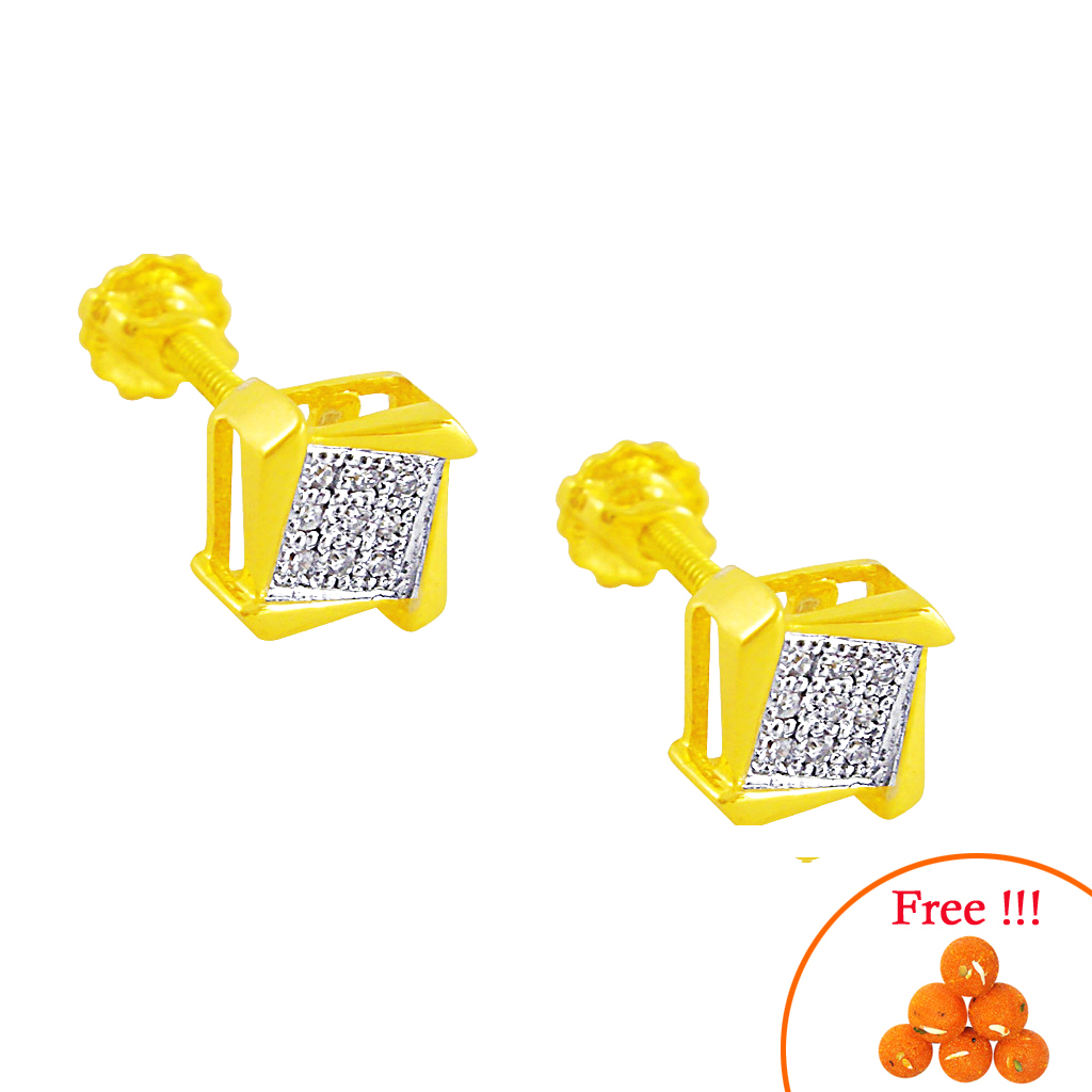 Square Shape Diamond Earrings-jpaug-081gc